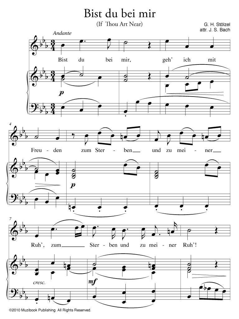 Bist Du Bei Mir High Voice And Piano Gottfried Heinrich