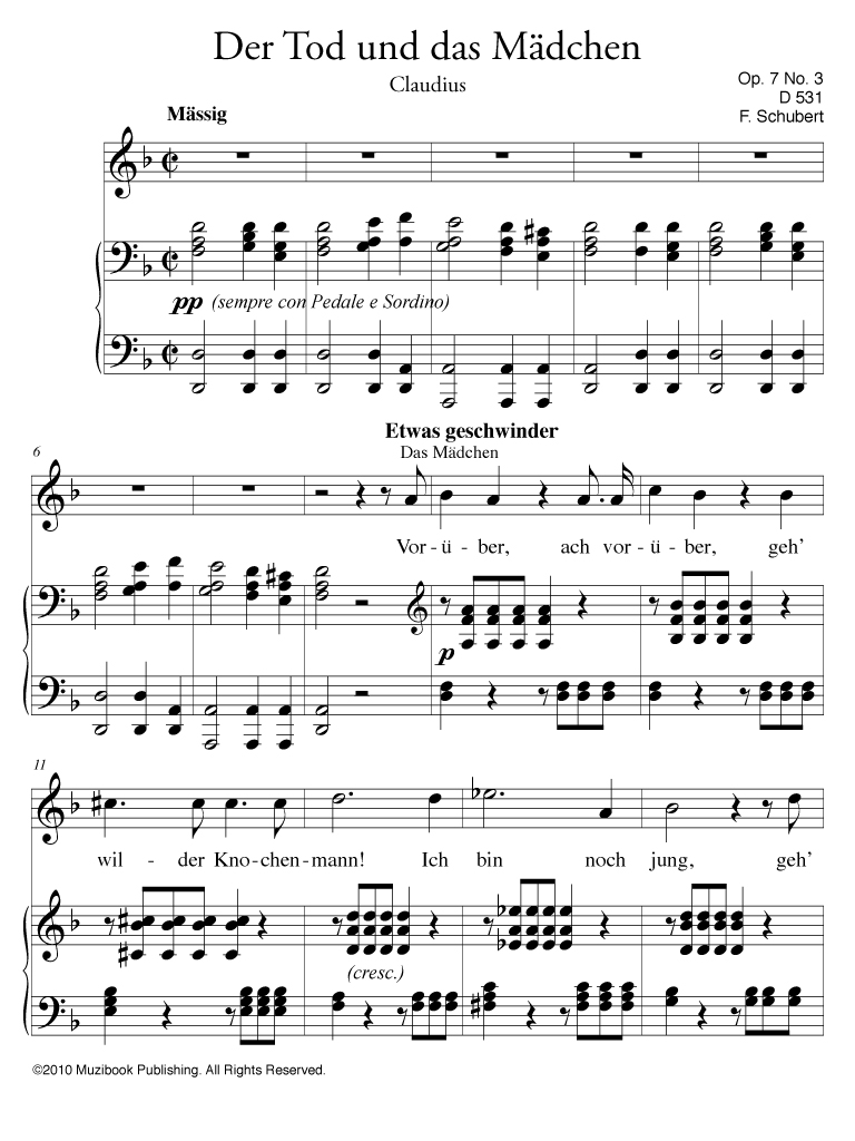 f3b0454cd8 Description. PDF sheet music optimized for iPad, tablet and laptop screens. Der  Tod und das Mädchen ...